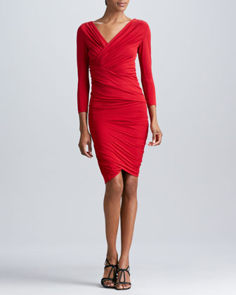 Three-Quarter-Sleeve Ruched Dress, Blood Red