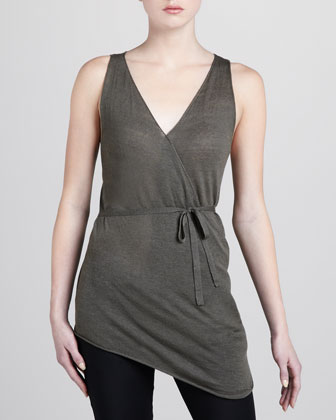 Sleeveless Linen-Cashmere Wrap Top