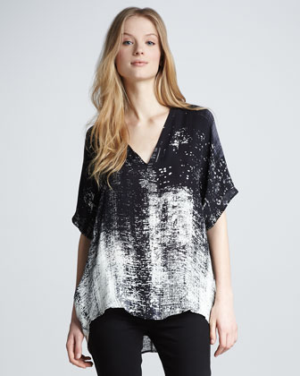 Graffiti-Print Silk Top