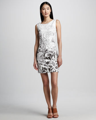 Ombre-Print Boat-Neck Sheath Dress