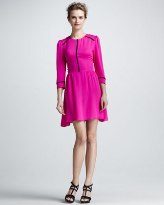 Ives Contrast-Trim Dress
