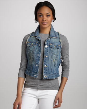 Leah Point Dune Frayed Denim Vest