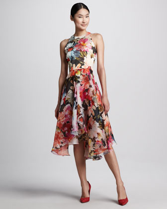 Floral-Print High-Low Cocktail Dress