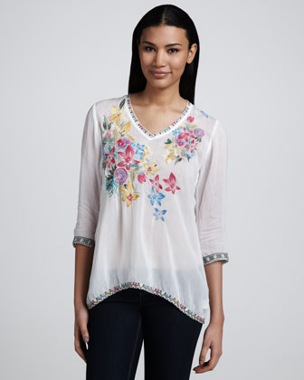 Acey V-Neck Embroidered Blouse