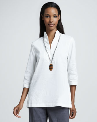 Stretch Linen-Blend Shirt
