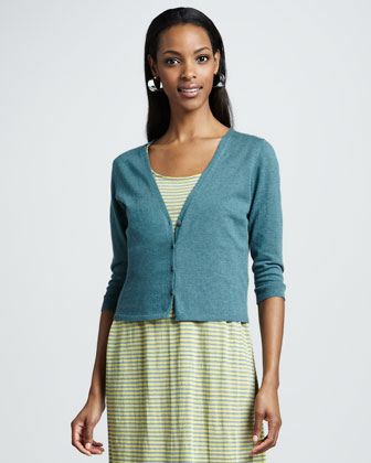 V-Neck Cropped Organic-Cotton/Cashmere Cardigan