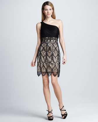 Scallop-Overlay Cocktail Dress