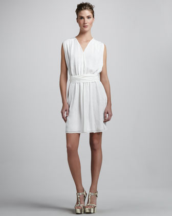 A-Line Sleeveless Silk Dress