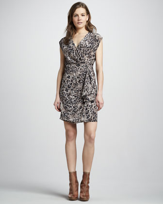 Hannah Draped Dot-Print Dress