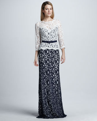 Two-Tone Lace Combo Gown