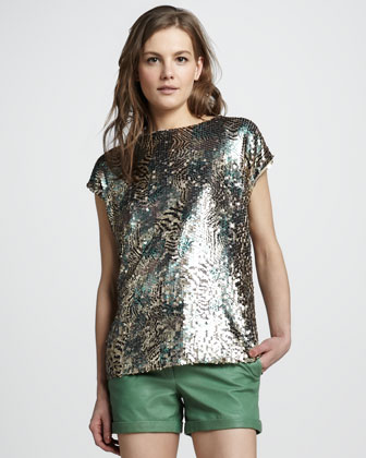 Ashlynn Printed Sequin Top