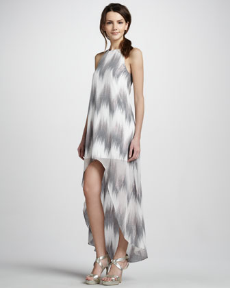 Metallic Ikat-Print High-Low Dress