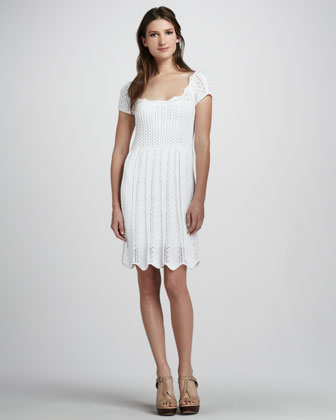 Pointelle Cap-Sleeve Dress