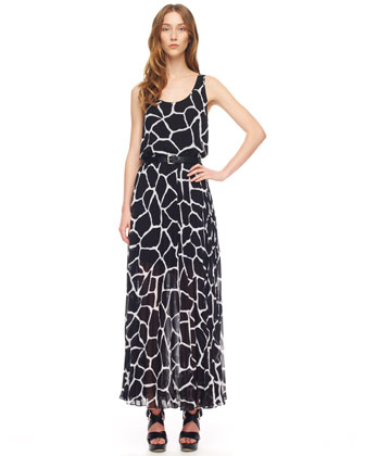 Giraffe-Print Chiffon Maxi Dress