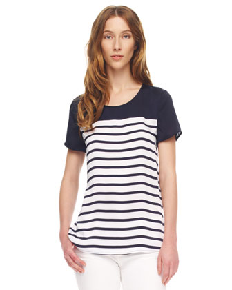 Striped Chiffon-Top Tee