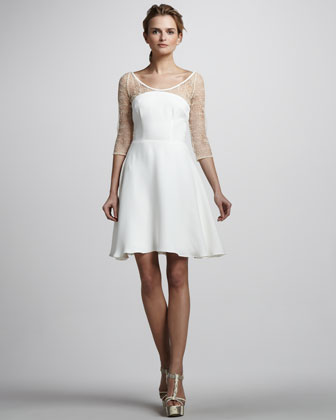 Sheer Polka-Dot-Sleeve Dress, Ivory