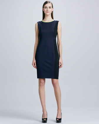 Margot Contrast-Trim Sheath Dress, Navy Yard/Black