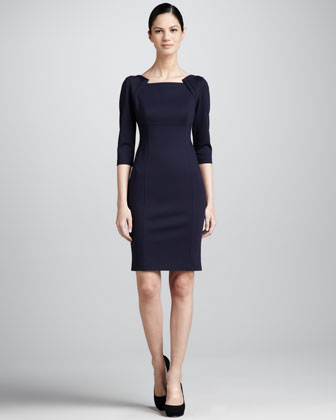 Patrina Envelope-Shoulder Sheath Dress, Navy Yard