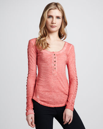 Embroidered-Sleeve Melange Henley