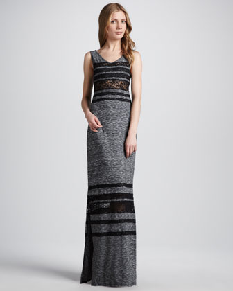 Hazy Daze Lace-Stripe Maxi Dress
