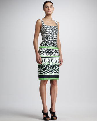 Square-Neck Printed Dress