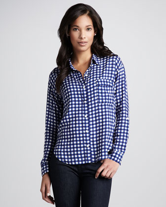 Gingham-Print Button-Down Blouse