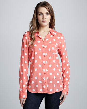 Pool Party Polka-Dot Blouse