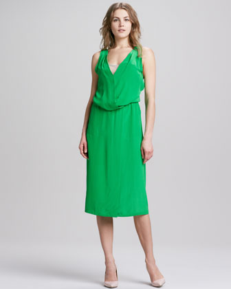Halter Mid-Calf Silk Dress