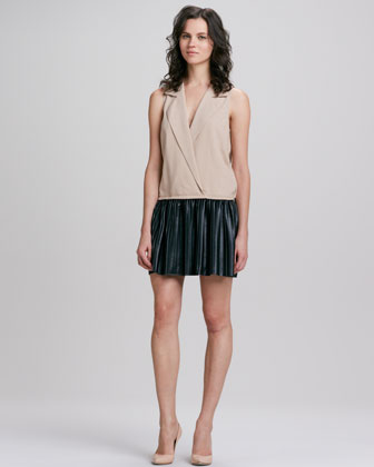 Sleeveless Notch-Collar Leather Combo Dress