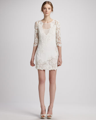 Illusion-Neck Lace Tunic Dress