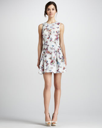 Butterfly-Print Sleeveless Dress