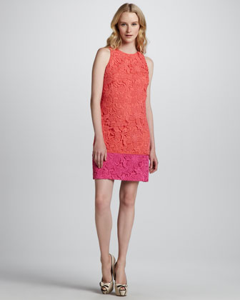 Colorblock Lace Overlay Dress
