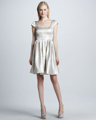 Metallic Cap-Sleeve Cocktail Dress