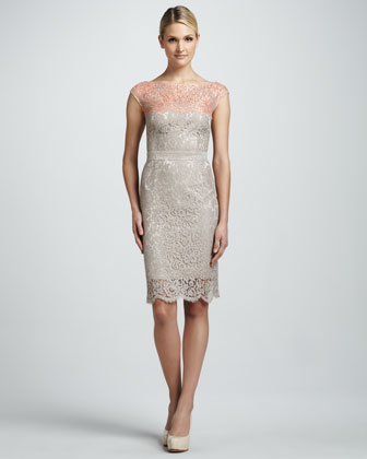 Illusion Colorblock Lace Cocktail Dress