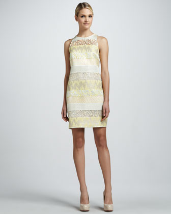Sleeveless Lace-Stripe Cocktail Dress