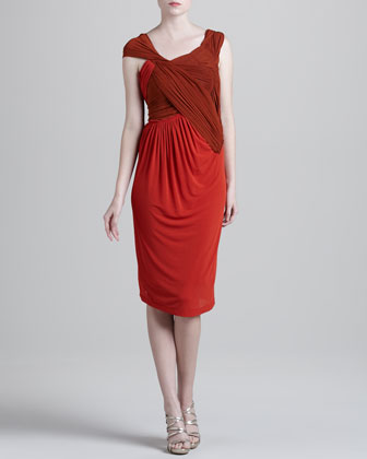 Slash Draped Jersey Dress