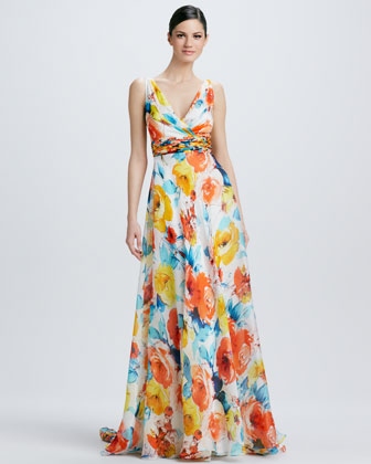 Sleeveless Floral-Print Gown