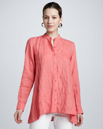 Handkerchief Linen Button-Front Boxy Shirt