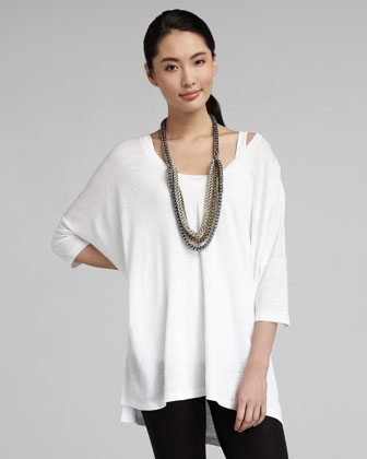 V-Neck Boxy Long Tunic, Petite