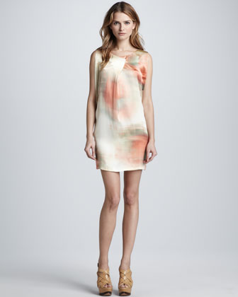 Leah Watercolor Shift Dress, Sunrise