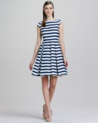 mariella striped cap-sleeve dress