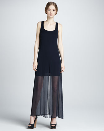 Sea Nettle Chiffon-Overlay Maxi Dress