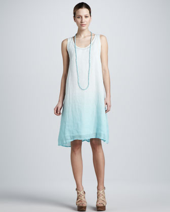 Ombre Layered Linen Dress, Women's