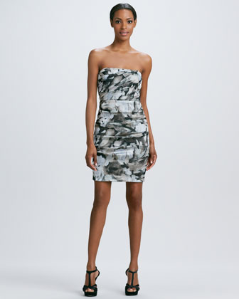 Strapless Floral-Print Cocktail Dress