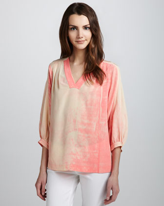 New Cahil Printed Silk V-Neck Top