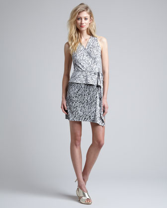 Mililani Scribble-Print Peplum Dress