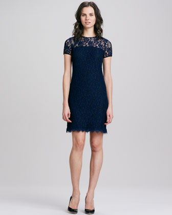 Lace Dress with Semi-Sheer-Yoke