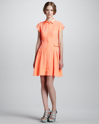 Flawless Pleated Shirtdress, Coral