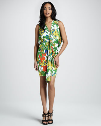 Floral Open-Back Wrap Dress