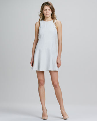 Sleeveless Bias-Cut Linen-Blend Dress